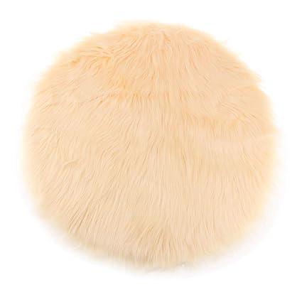 Furry Sofa Pad Faux Fur Sheepskin Round Car Stool Seat Cushion Floor Mat