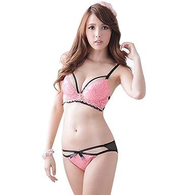 32eb4e4e03c3 AMNOR Women's Girls Padded Seamless Sexy Hot Pink Lace Sheer Underwear Bra  Panty Bikini Lingerie Set
