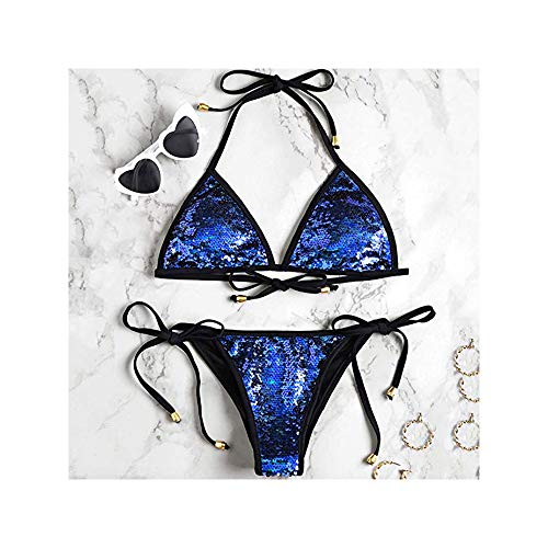 3aa638f0c SS Queen Women Shiny Triangle Bikini Tie Sides Sexy 2 Pieces Swimsuits (S