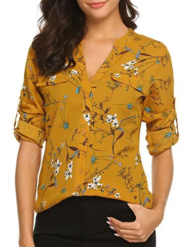 BEAUTEINE Women Button-Down Chiffon Shirts Floral Printed Henley V Neck Cuffed Sleeve Tunic Tops