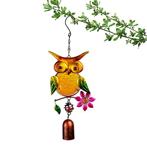 Enameled Holiday Bells - YUFENG Hanging Decorations Owl Enameled Glass Ornaments Wind Chimes