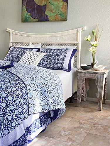 (Saffron Marigold Midnight Lotus Luxury Duvet Cover | 100% Cotton Cobalt Blue Persian Oriental Asian Floral Quilt Comforter Cover | Unique Jacobean Flower Bedding Queen )