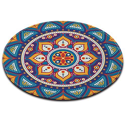 LB Mandala Area Rugs Watercolor Lotus Bohemian Style Round Memory Foam Rug Non-Slip Soft Fannel Floor MatS for Living Dining Room Kid