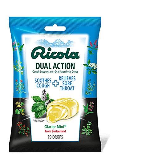 Ricola Dual Action Cough Suppressant Drops, Glacier Mint, 19 Drops Per Pack (24 Packs)
