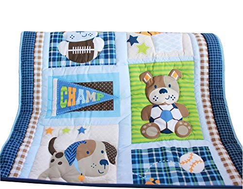 WINLIFE Crib Bedding Set for Girls & Boys Crib Quilts 33''x42'' Baby Quits for Boys (Blue)