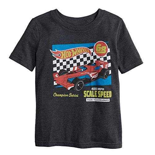 Jumping Beans Little Boys' 4-12 Accelerate Hot Wheels Tee 7 Charcoal HTHR]()