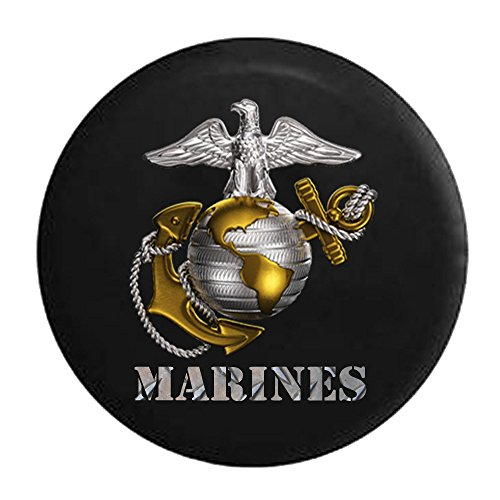 State Tire Cover (USMC United States Marine Corp Eagle Globe Anchor Emblem Spare Jeep Wrangler Camper SUV Tire Cover 33 in)
