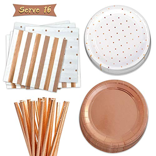 Party Supplies Set Disposable Paper Tableware Dinnerware Napkins Plates Straw Polka Dot Gold Rose 61pcs