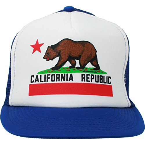 (Dolphin Shirt Co California Republic Flag Flat Bill Snapback Mesh Truckers Cap - Blue/White One Size Fits Most)
