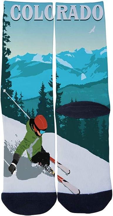 Mens Womens Custom Colorado Denver Skyline Travel Poster Socks 3D Print Novel Creative Casual Crew Socks