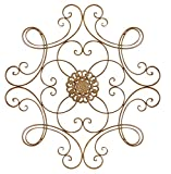 Besti Scrolled Metal Medallion Wall Decor - Vintage Decoration for Home, Kitchen, Office, Porch, Patio - Circular, Antique Style Gold Iron Artwork Ornament - Great House, 24 1/2 Inch