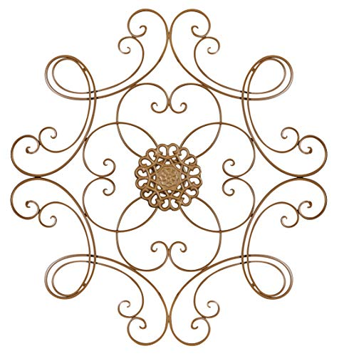 Besti Scrolled Metal Medallion Wall Decor - Vintage Decoration for Home, Kitchen, Office, Porch, Patio - Circular, Antique Style Gold Iron Artwork Ornament - Great House, 24 1/2 Inch (Decor Wall Medallion Metal)