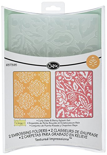 Sizzix Textured Impressions Embossing Folders 2PK - Curly Gate & Berry Splash Set by Dena Designs - Ellison Design Embossing Folders
