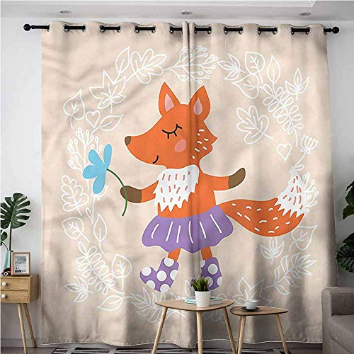 AndyTours Kids Curtains,Kids Fox with Clothing Flowers,Blackout Window Curtain 2 Panel,W84x84L