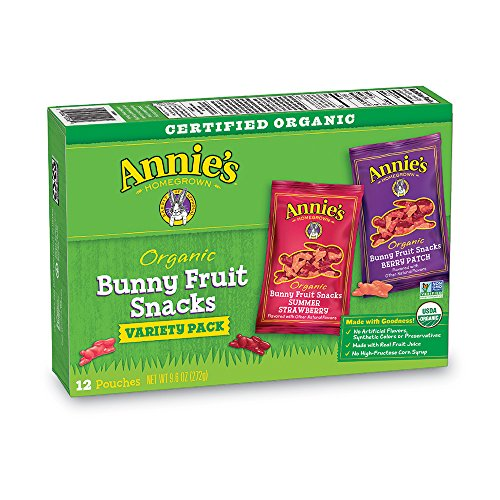 Annie's Organic Bunny Fruit Snacks, Variety Pack, 12 Pouches, 9.6 oz ()