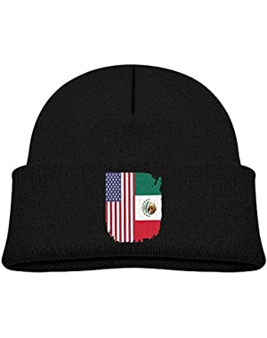 Warm Mexican American Flag Printed Toddlers Baby Winter Hat Beanie