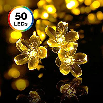 Solar String Lights, DecorNova 20 Feet 50 LED Crystal Flower String Lights with Waterproof Solar Panel for Outdoor Garden Patio Yard Christmas, Warm White