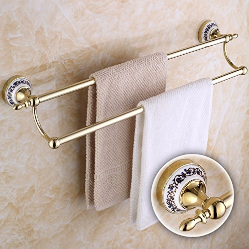 cheap KHSKX Gold-plated stainless steel Towel rack-style ceramic blue and white porcelain double bathroom hardware accessories