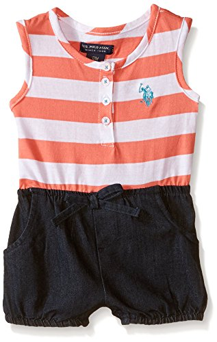 U.S. Polo Assn. Girls' Striped Jersey and Denim Short Romper, Georgia Peach, 24 - Embroidered Jersey Romper