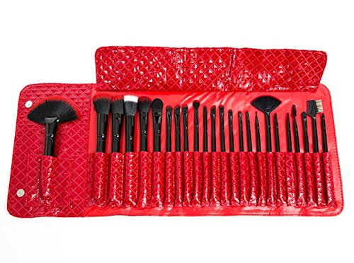 Dream Maker 24 Piece Makeup Brush Set with RED Leather Case