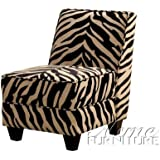 Accent Chair with Wooden Legs in Zebra Pattern