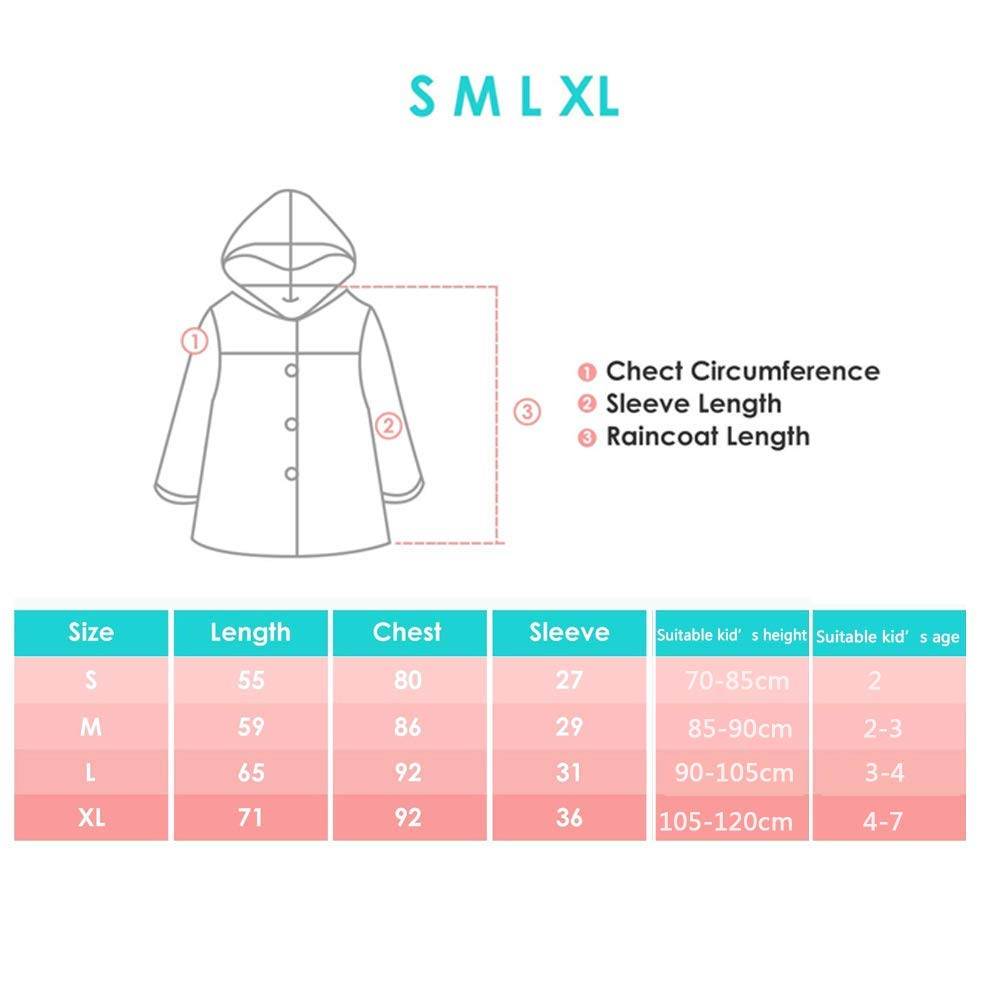 Blue -M Diamond Talk Kid Rain Coat,Cartoon Waterproof Childrens Raincoat Lightweight for Ages 3-12 Years Old Girls and Boys 4 Size,