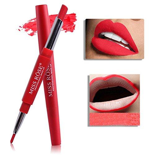 Chiak Long Lasting Waterproof Double Head Lipstick Stick and Lip Liner Makeup Tools Lipstick