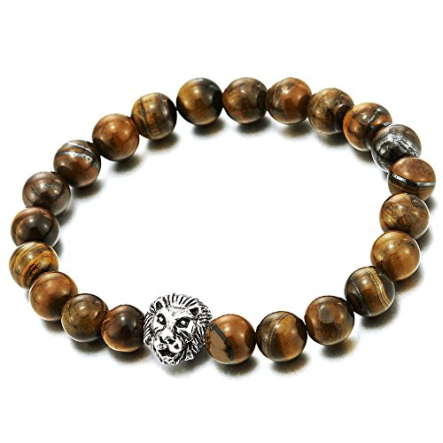 9MM Tiger Eye Stone Mens Boys Stretchable Beads Bracelet with Lion Head, Prayer Mala