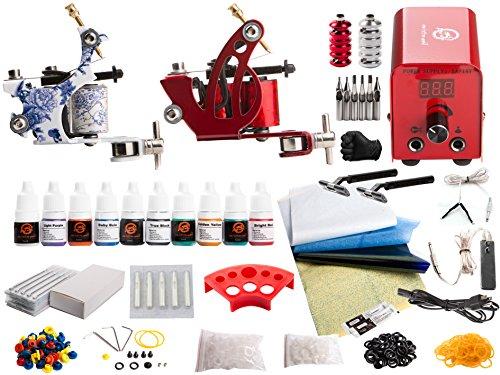 1TattooWorld Red Series Tattoo Kit 2 Tattoo Machines, Digital Power Supply, 10 Color 5ml Tattoo inks, Grips, Needles, Transfer Paper etc, OTW-KTR210A by 1TattooWorld