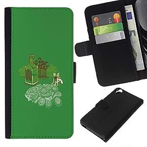 HTC Desire 820 - Dibujo PU billetera de cuero Funda Case Caso de la piel de la bolsa protectora Para (Absinth Fairy Dreams - Funny)