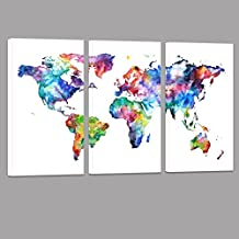 SimonfineUs Water color map Poster Printed on Canvas with Frame Ready Hanging On 3 Panel Canvas Art world Map Decal home Wall Decoration
