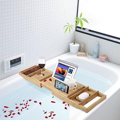 TDYNASTY DESIGN Bathtub Caddy Tray,Bamboo Wood Luxury Bath Rack Shower Organizer Tablet Holder,Cellphone Tray,Wine Glass Slots,Non-Slip Grip Soap Holder by TDYNASTY DESIGN (Image #4)
