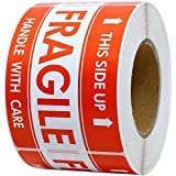 DREAM ART 2x3 inch Handle with Care This Side Up Fragile Stickers Adhesive Label 1000 Per Roll 1Roll (1Roll)…
