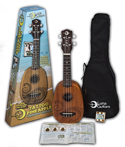 Luna Tattoo Mahogany Soprano Pineapple Ukulele Pack