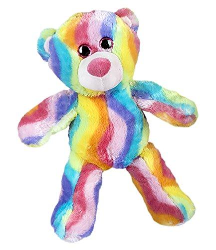 (Cuddly Soft 16 inch Stuffed Rainbow Stripe Teddy Bear - We stuff 'em...you love 'em!)