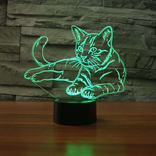 Lying Down Cosy Cat 3D Illusion Platform LED Lamp Night Lighting USB Touch Light Children Cute Night Bedroom Light leisure 7 Colorful (Lying Down Cat)