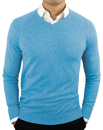 - CC Perfect Slim Fit V Neck Sweaters for Men | Lightweight Breathable Mens Sweater | Soft Fitted V-Neck Pullover for Men, Large, Ethereal Blue2