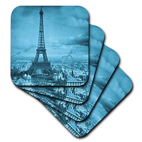 3dRose cst_6794_3 Eiffel Tower Paris France, 1889 Cyan-Ceramic Tile Coasters, Set of 4