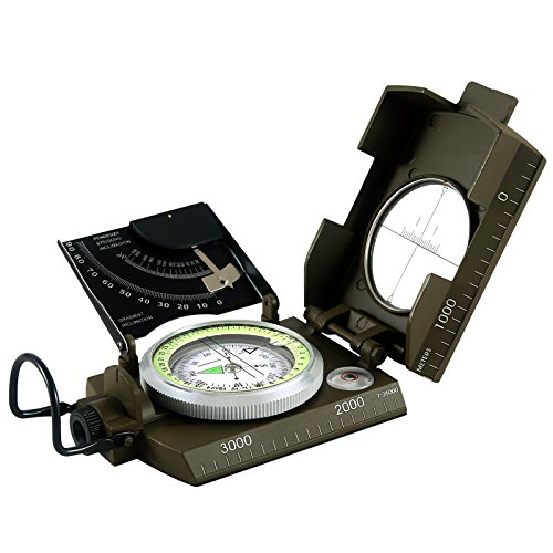 Eyeskey Waterproof Multifunctional Military Metal Sighting Compass with Inclinometer for Camping, Hiking