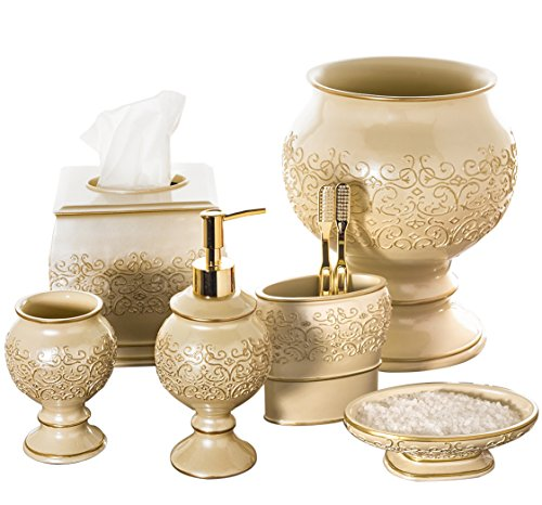 Creative Scents Shannon Bathroom Accessories Set, 6 Piece Bath Set Collection Features Soap Dispenser, Toothbrush Holder, Tumbler, Soap Dish, Tissue Cover, Wastebasket