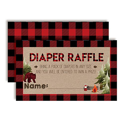 Oh Boy! Outdoorsy Red and Black Plaid Lumberjack Diaper Raffle Tickets for Boy Baby Showers, 20 2