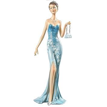 Belles 374 Dekorative Figur Dame In Einem Blauen Kleid Art Deco