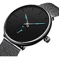 Bestn Mens Business Analog Quartz Wrist Watch Independent Second Hand Dial Design with Mesh Watch Band (Black)