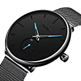 Bestn Mens Business Analog Quartz Wrist Watch Independent Second Hand Dial Design with Mesh Watch Band