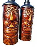CUSTOM HANDCARVED & CHISELED PALM TREE DESIGN TABLE TOP TIKI TORCHES WITH FREE METAL CANNISTERS INCLUDED!