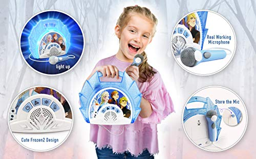 51qXDjrttvL - Frozen 2 Sing Along Boombox with Microphone, Built in Music, Flashing Lights, Real Working Mic for Kids Karaoke Machine, Connects Mp3 Player Aux in Audio Device