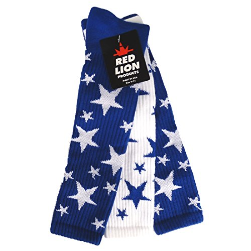Red Lion Pair and Spare Star Mix or Match Athletic Socks ( Royal / White - Me...