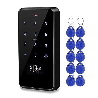HFeng Exterior IP68 Impermeable Teclado RFID Sistema de Control Acceso Táctil Lector de Tarjetas WG26 / 34 + 10 piezas 125KHz EM4100 Llaveros