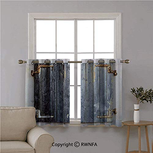 "RWN CURTAINS Home 2 Panels Tiers Small Window Treatment,Wooden Window Shutters with Shabby Paint Rusty Antique Traditional Village Picture,Curtain Blackout Drape Short Panel,42""x45"" Charcoal,Set of 2 from RWN CURTAINS"
