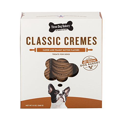 Three Dog Bakery Classic Cremes Baked Dog Treats, Carob With Peanut Butter Filling, 13 Oz